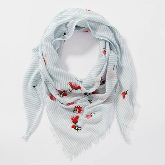 J. Jill Accessories - J. Jill - Embroidered Striped Triangle Scarf